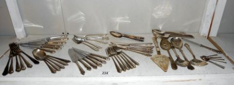 A Sheffield set of cutlery 45 pieces (missing 1 soup and 2 dessert spoons) plus other cutlery