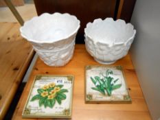 2 white planters 18cm & 15cm and 2 hand painted floral wall plaques 17cm x 16cm