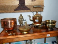 A quantity of brass and copper including kettle on stand