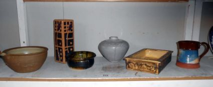 6 pieces of studio pottery by pottery artist Harry Shotton