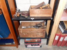 A quantity of vintage and other tools plus a car battery charger
