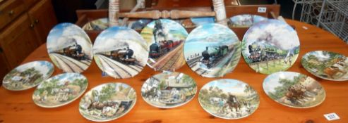9 boxed 'Great steam trains' collection Davenport plates & 7 boxed 'life on the farm' collection