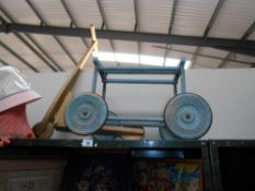 A vintage wooden child's scooter & a wooden pull along trolley