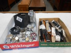 A quantity of assorted watches and a box of watch straps