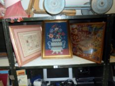2 framed & glazed tapestry pictures (still life & Elizabethan scene) & a framed & glazed modern