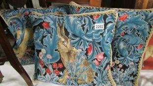 3 signare tapestry William Morris design good quality cushions featuring animals.