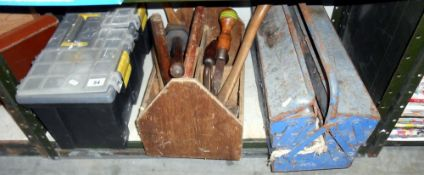 3 vintage tool boxes and contents