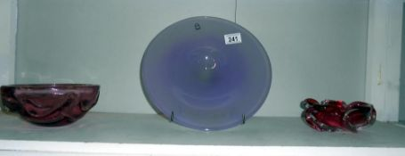 3 pieces of coloured glass including Ichendorf,