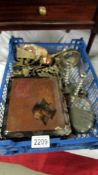 An interesting tray of items including brass, metal ware, candlesticks, hip flask, old box,