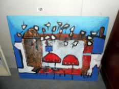 A mid 20c Newlyn school, oil, sand collage titled 'Two red Boats' Newlyn,