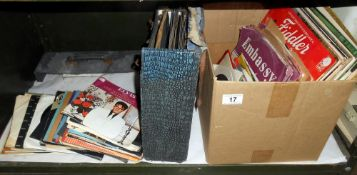 A quantity of 78's records including classics, Fiddler on the roof and 45's including Elvis,