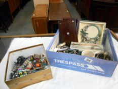 2 boxes of costume jewellery including an old box, letter openers etc.
