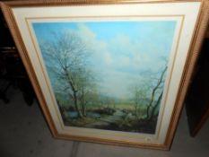 A gilt framed and glazed print 'April Sunshine' by Victor Elford Size; 94cm x 82.
