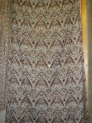 A pair of monochrome brown and white paisley patterned curtains, 214 cm wide x 170 cm drop.