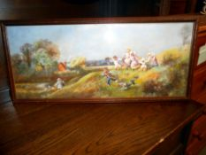 A 20c oil pastel country scene of children playing on a hillside circa 1970's, frame and glazed,