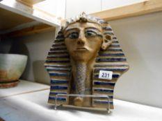 A clay model of Tutankhamun death mask,