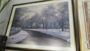 A framed winter scene.
