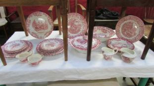 Approximately 26 pieces of Johnson Bros., pink and white dinner set.