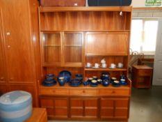 A teak effect wall unit (drinks cabinet locked, no key) Height 194cm,