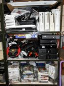 3 shelves of gaming systems, X-Box,