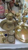 A mixed lot of brass ware including warming pan, pots etc.