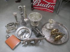 A mixed lot of silver plate including springer spaniel, canons, small gallery tray,