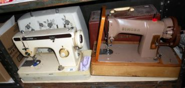 A pair of sewing machines, one being Jones,