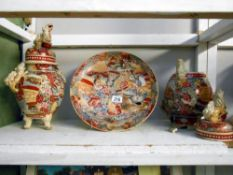 A Satsuma charger and 2 lidded urns,