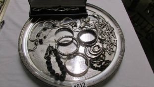 A silver plated Victorian tray dated 1883 by Elkington & Co.