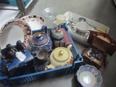 A quantity of misc items including cutlery, music box, bibles,