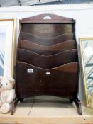 A vintage wooden 4 tier magazine rack / holder