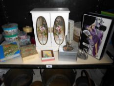 A quantity of storage boxes, jewellery box, William Morris notecards, diary etc.