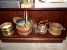 A copper coal scuttle, kettle,