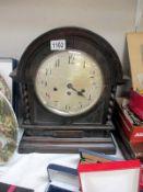 A large wooden mantel clock a/f