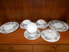 17 pieces of Wedgwood Hathaway Rose dinner ware,