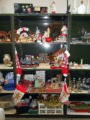 4 shelves of Christmas decoration including some vintage items