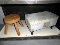 A small oak milking stool and a fabric covered stool (would need cleaning or re-covering)