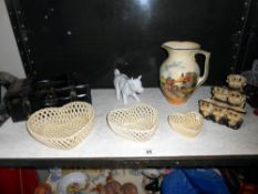 Royal Doulton Country scene milk jug, monk group egg stand, cow creamer etc.