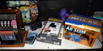 A Bonanza Bank toy slot machine, fitness items, Walkman etc.