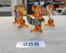 Murano style small glass 5 piece dog musician band - in good order