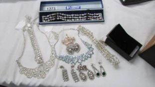 A mixed lot of sparkly jewellery.