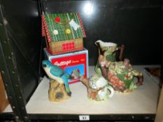 A boxed cottage sewing kit and Western House The Village china collectables, jug,