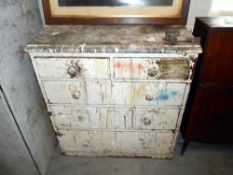 A Victorian pine chest of drawers for restoration 92cm x 45cm x height 90cm