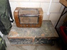 An old pine tool box and vintage Marconi valve radio for restoration