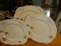 A set of 3 graduated Alfred Meakin platters decorated with ducks.