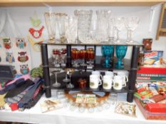 A large quantity of glassware including vases and a large spice wheel etc.