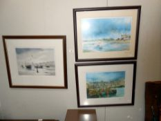 2 John Emerson ltd ed prints signed by artist, no 76/250 and 90/250 Harbour & beach scene,