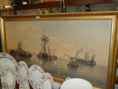 A gilt framed nautical scene.