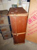A vintage wood bound travel trunk 85cm x 33cm x 52cm