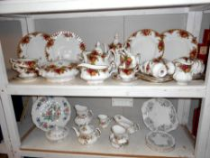 Approximately 36 pieces of Royal Albert Old Country Roses, mostly seconds, teapot lid a/f,